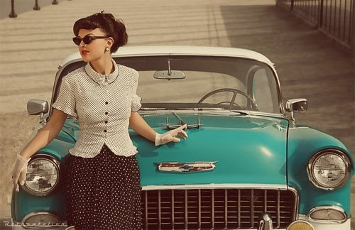 Asya Arteyeva and Chevrolet Bel Air 1955 - Vintage Classic Cars and Girls