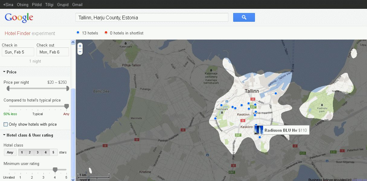 Google Hotel Finder popular areas